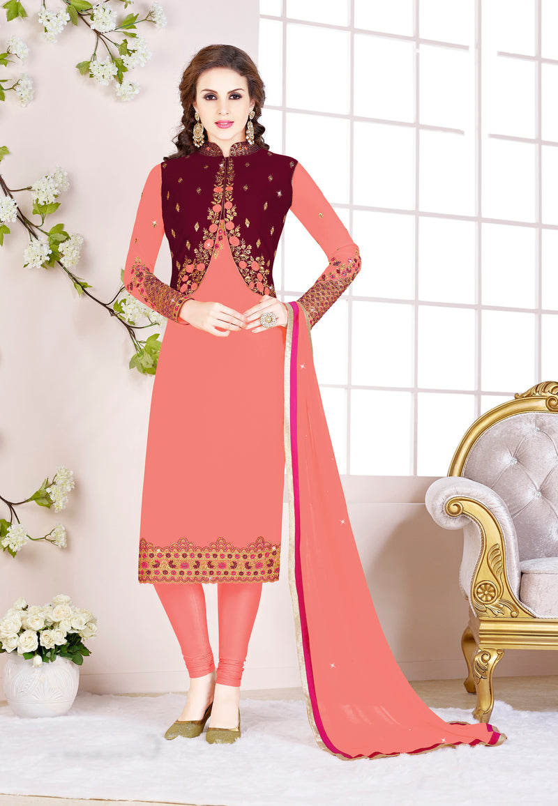 Baby Pink & Maroon Color Georgette Festive Wear Semi-Stitched Suits NYF-7920