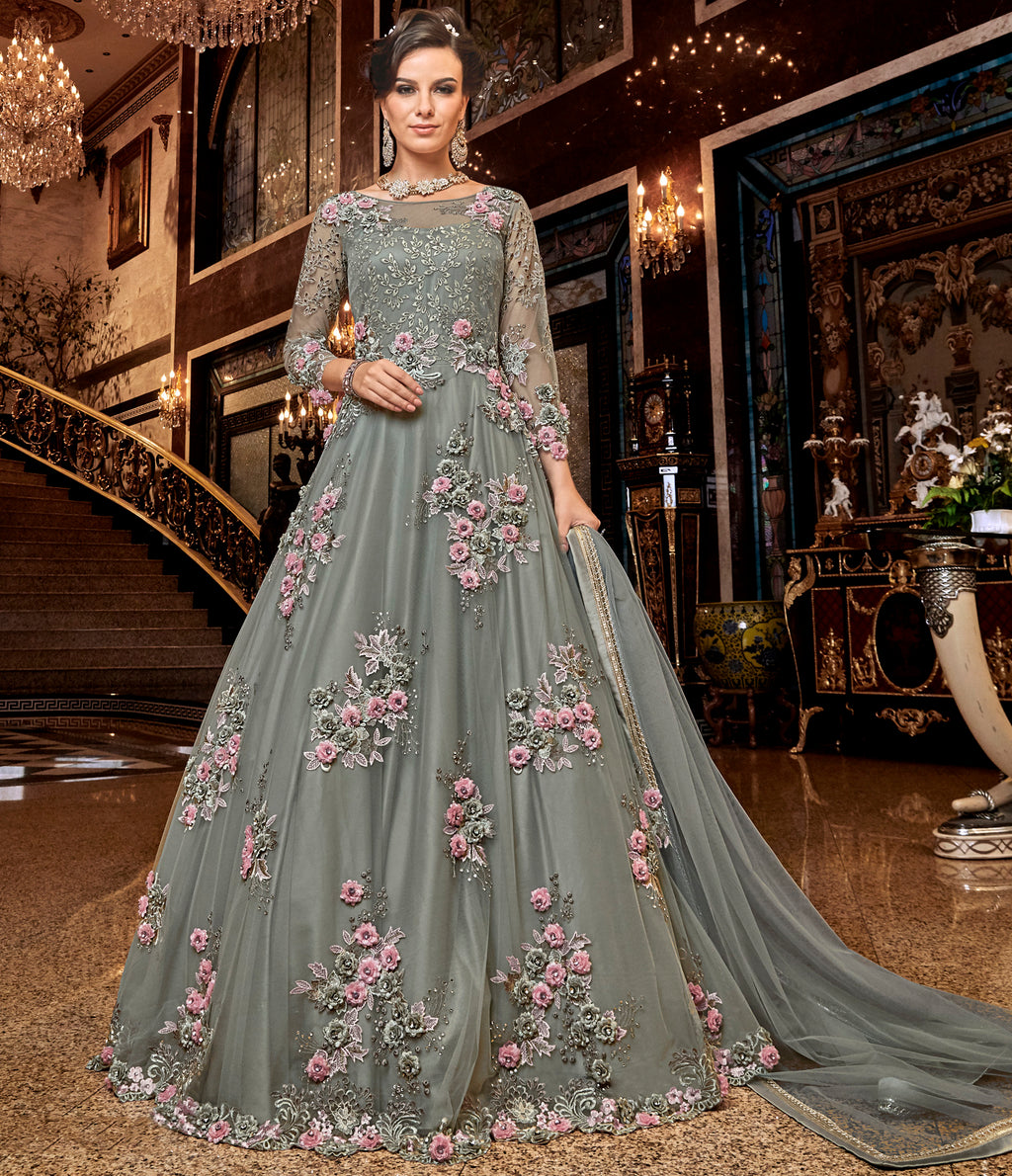 Grey Color Net Designer Floor Length Semi-Stitched Suit NYF-7939