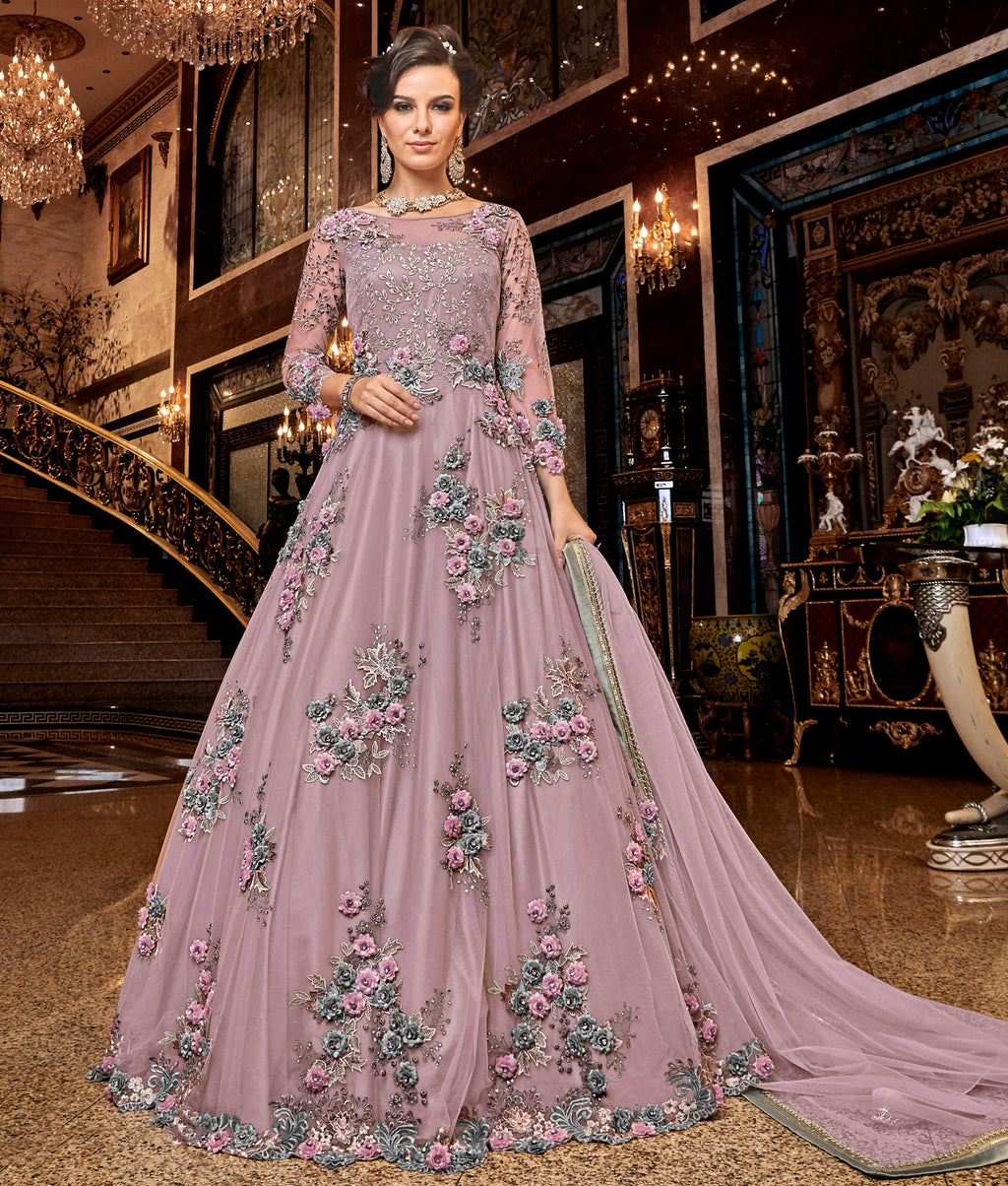 Lavender Color Net Designer Floor Length Semi-Stitched Suit NYF-7940