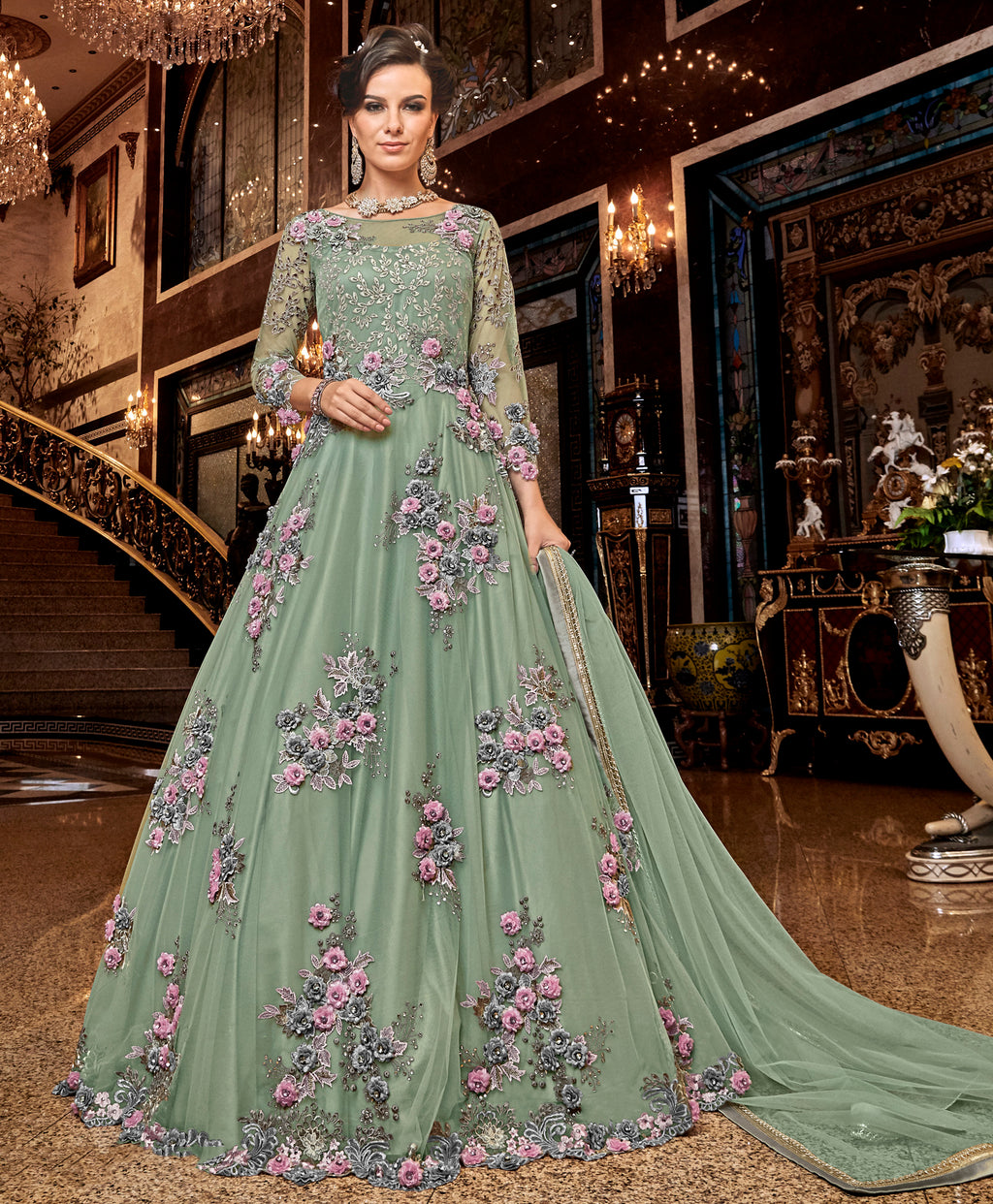 Pastel Green Color Net Designer Floor Length Semi-Stitched Suit NYF-7941