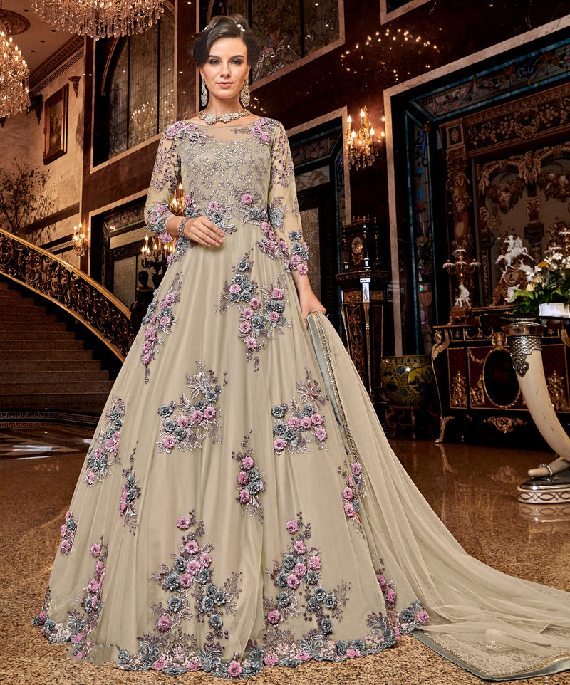 Cream Color Net Designer Floor Length Semi-Stitched Suit NYF-7942