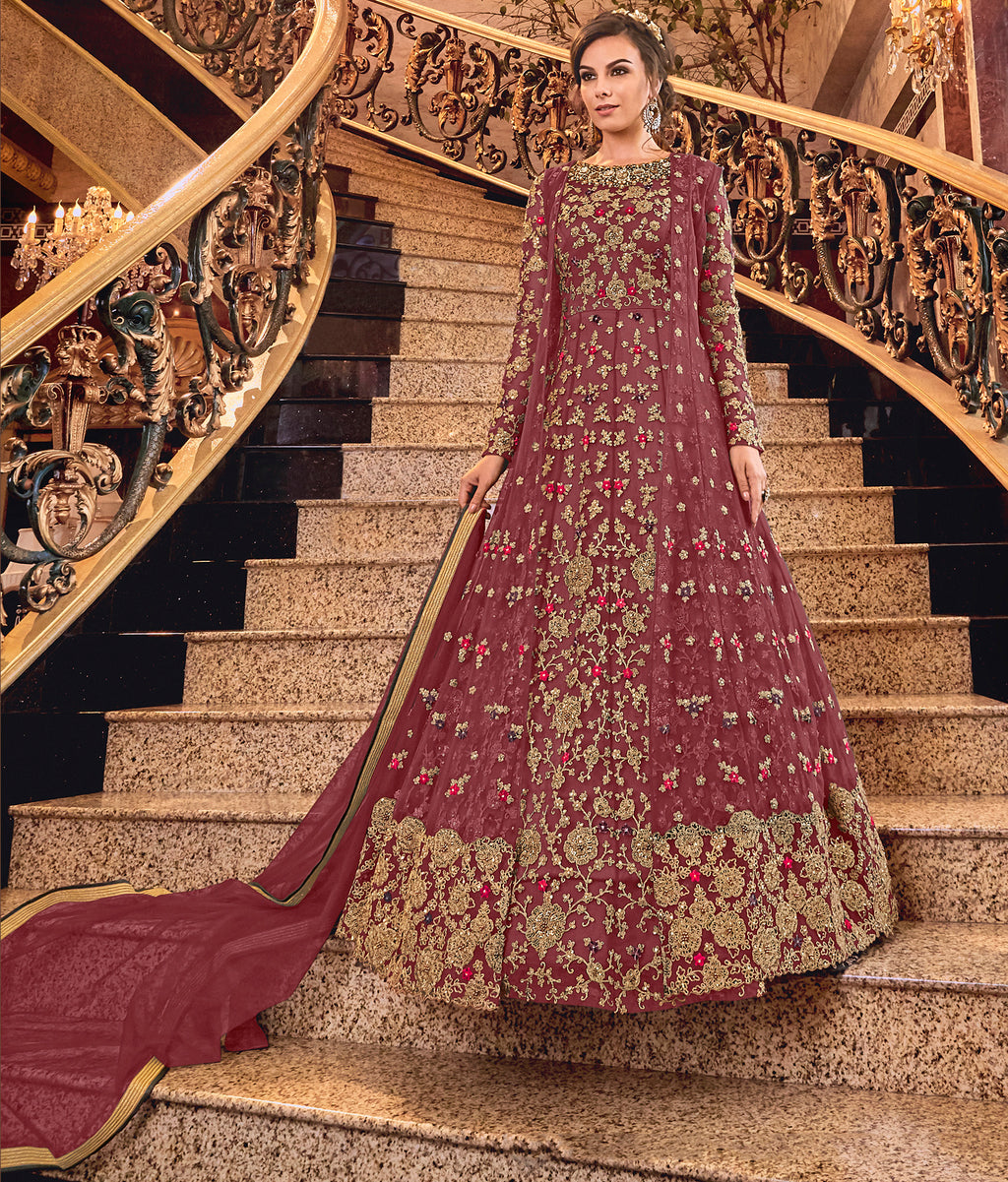 Maroon Color Net Designer Floor Length Semi-Stitched Suit With Jacket NYF-7944