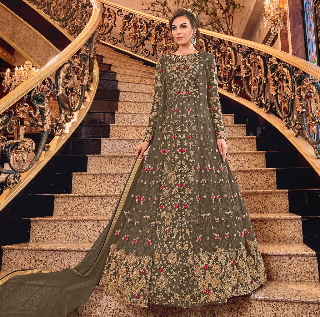 Dark Olive Green Color Net Designer Floor Length Semi-Stitched Suit With Jacket NYF-7945
