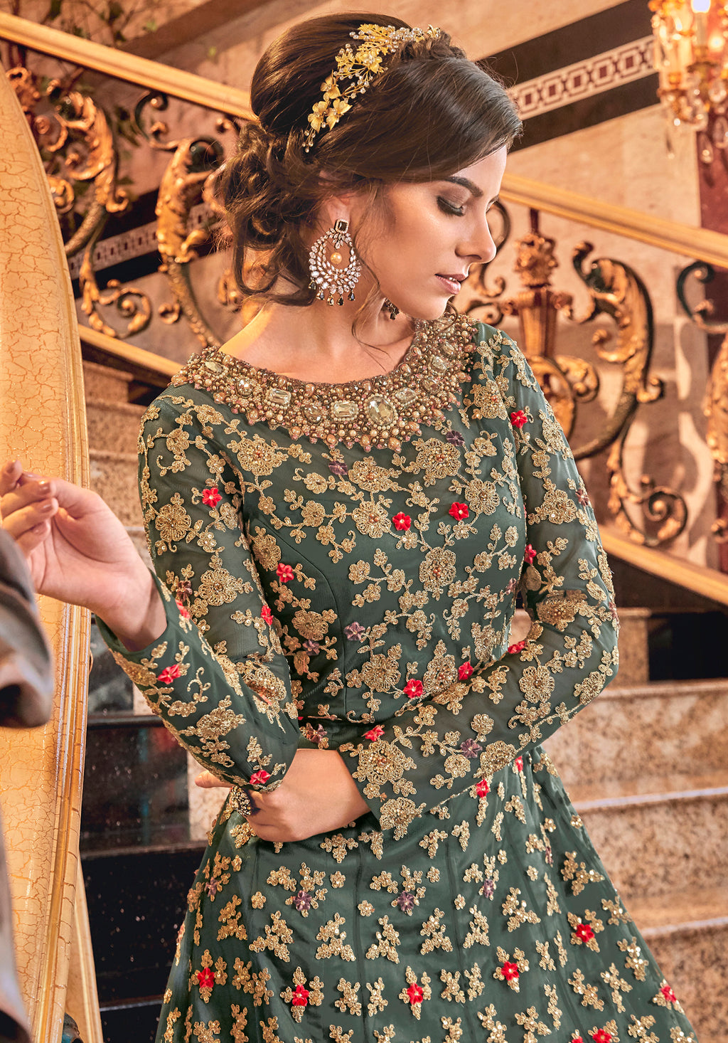 Rama Green Color Net Designer Floor Length Semi-Stitched Suit With Jacket NYF-7946