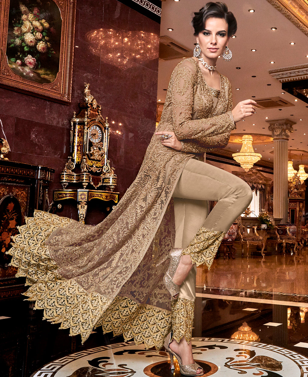 Beige Color Net Designer Indo Western Semi-Stitched Suit With Two Bottoms NYF-7947