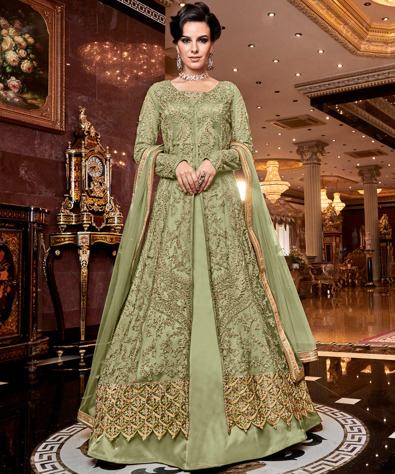 Pastel Green Color Net Designer Indo Western Semi-Stitched Suit With Two Bottoms NYF-7948