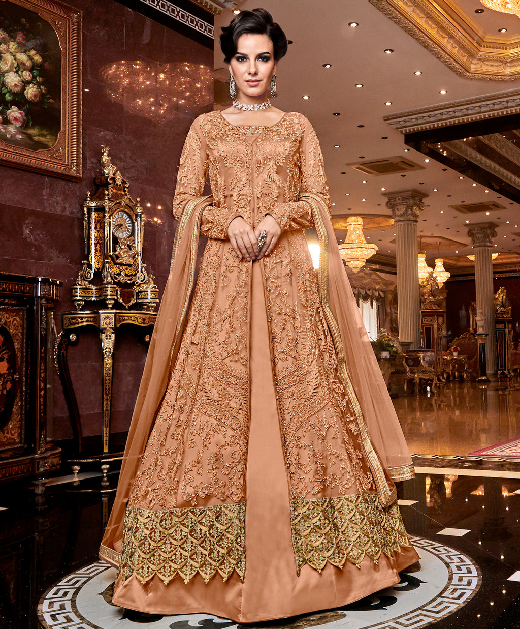 Dusty Peach Color Net Designer Indo Western Semi-Stitched Suit With Two Bottoms NYF-7949