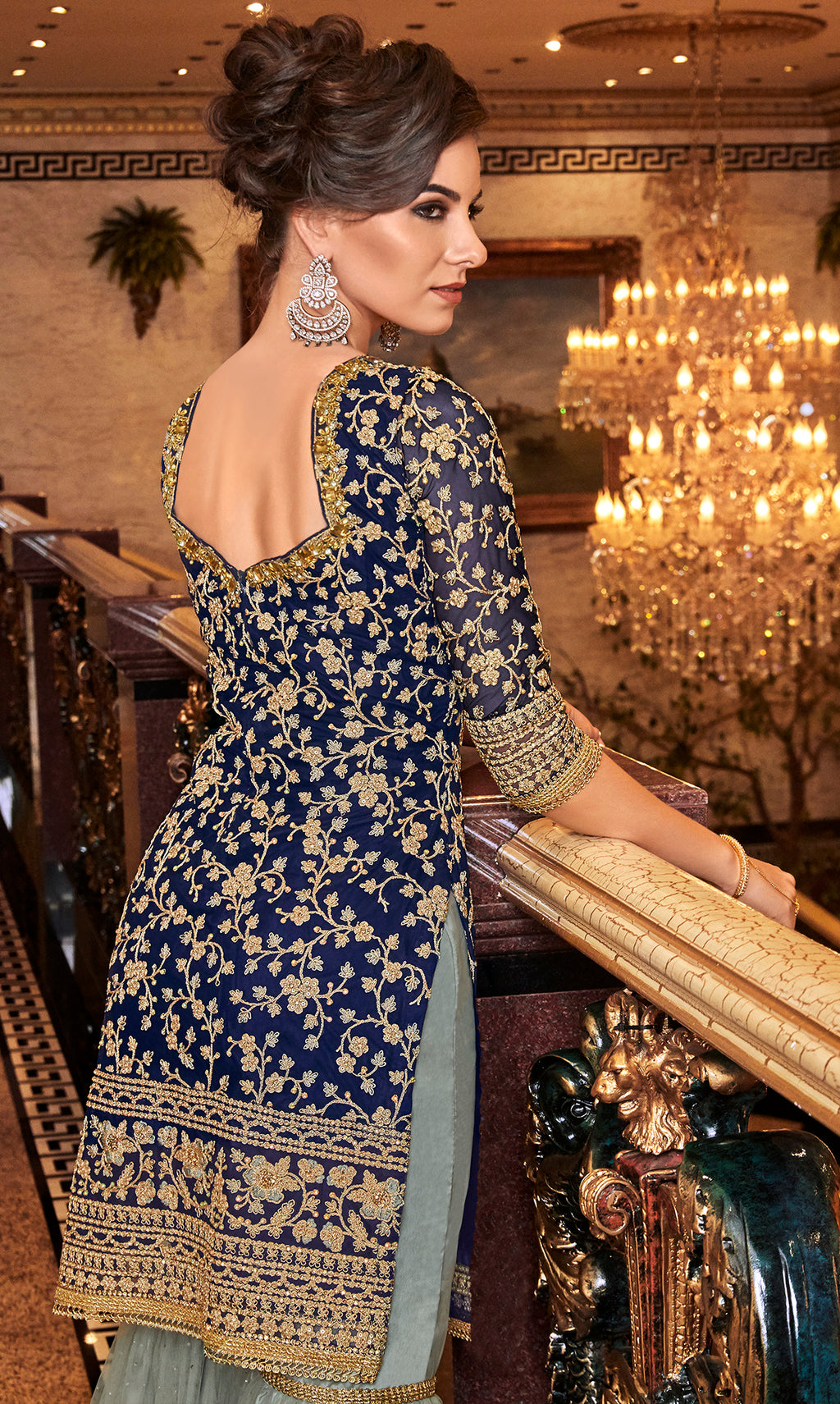 Blue Color Net Designer Semi-Stitched Sharara Suit NYF-7950