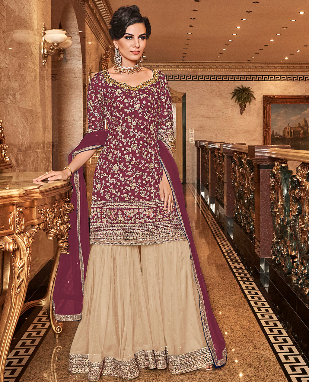 Wine Color Net Designer Semi-Stitched Sharara Suit NYF-7951