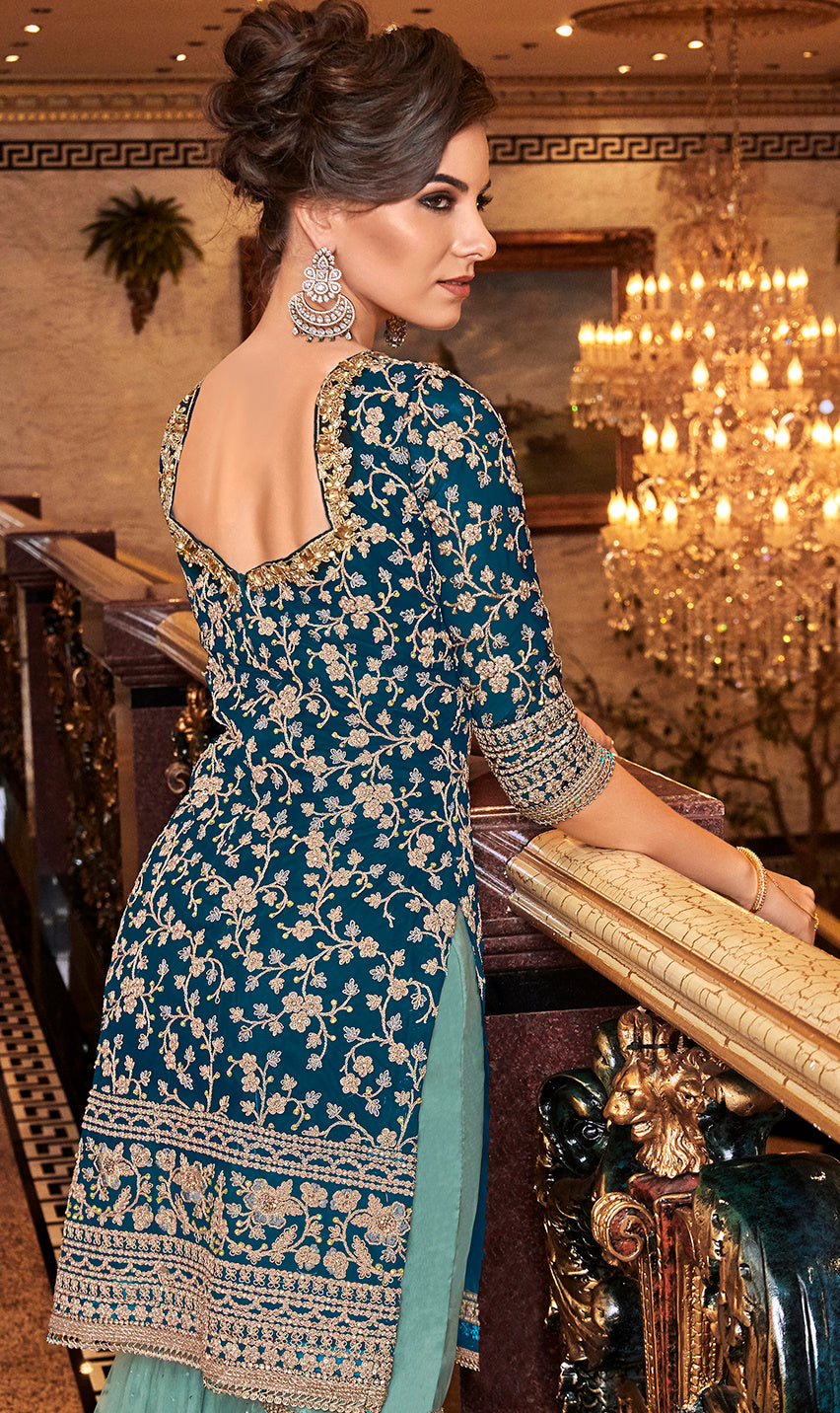Blue Color Net Designer Semi-Stitched Sharara Suit NYF-7952