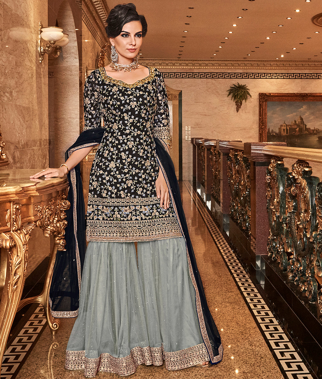 Black Color Net Designer Semi-Stitched Sharara Suit NYF-7953