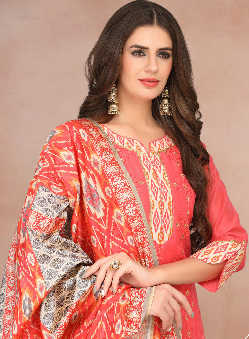 Pink Color Chanderi Silk Party Wear Semi-Stitched Suits NYF-7931