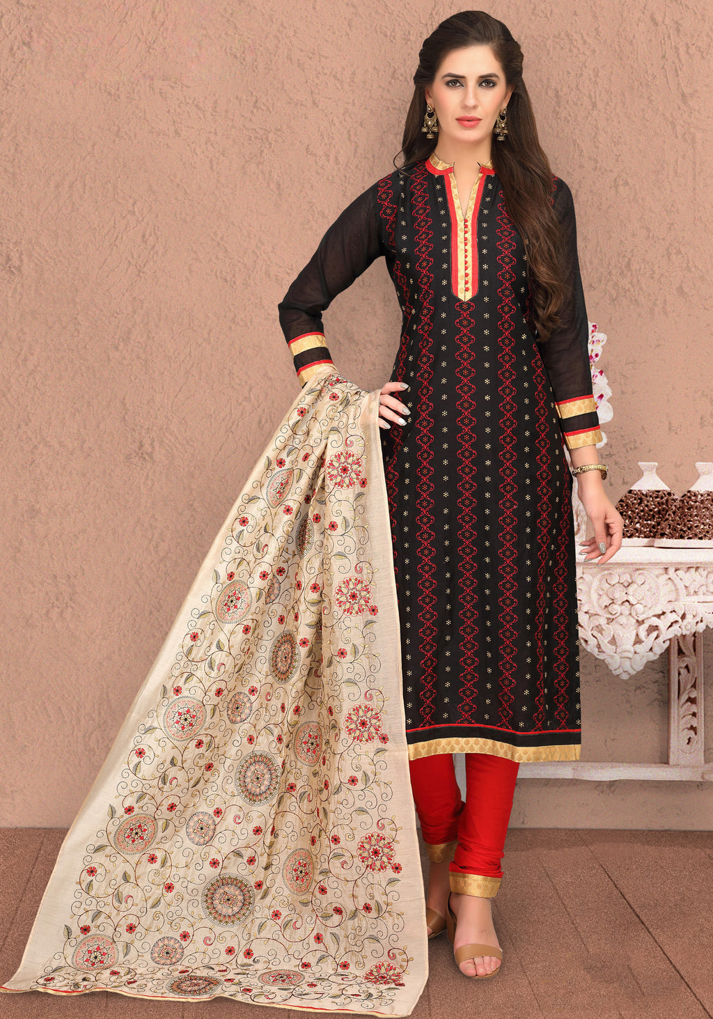 Black Color Chanderi Silk Party Wear Semi-Stitched Suits NYF-7932