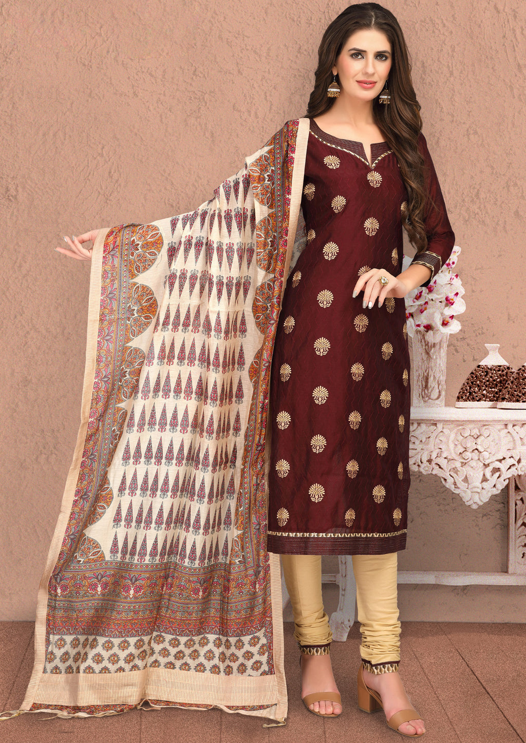 Maroon Color Banarasi Chanderi Silk Party Wear Semi-Stitched Suits NYF-7933
