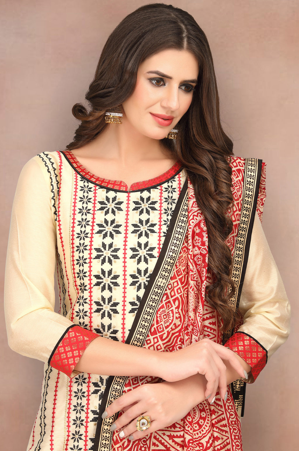 Cream Color Banarasi Chanderi Silk Party Wear Semi-Stitched Suits NYF-7934