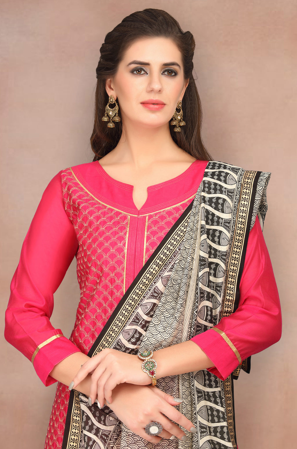 Pink Color Chanderi Silk Party Wear Semi-Stitched Suits NYF-7935
