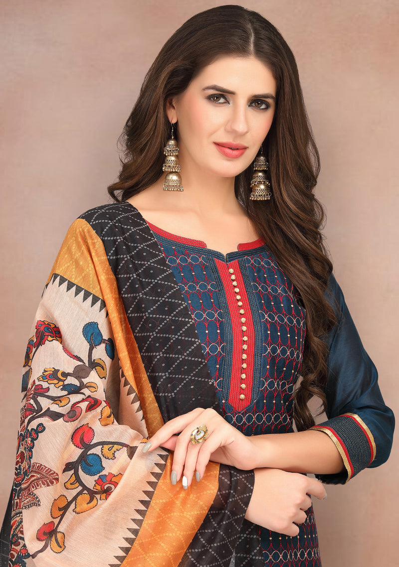 Blue Color Chanderi Silk Party Wear Semi-Stitched Suits NYF-7936