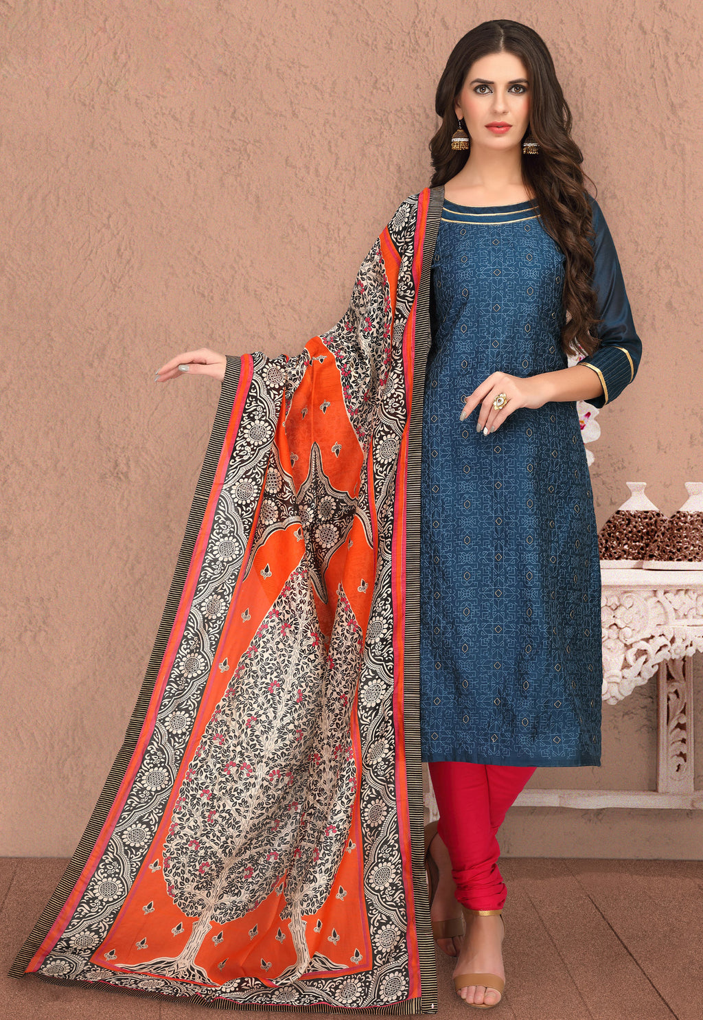 Blue Color Banarasi Chanderi Silk Party Wear Semi-Stitched Suits NYF-7937