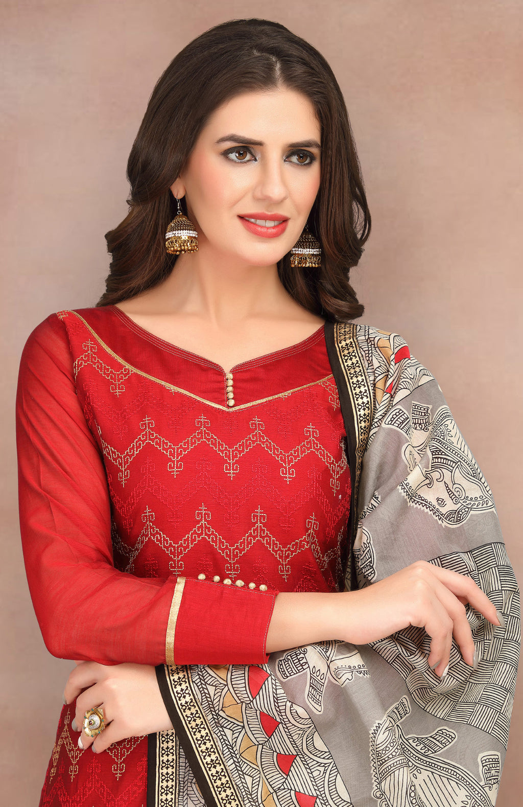 Red Color Banarasi Chanderi Silk Party Wear Semi-Stitched Suits NYF-7938