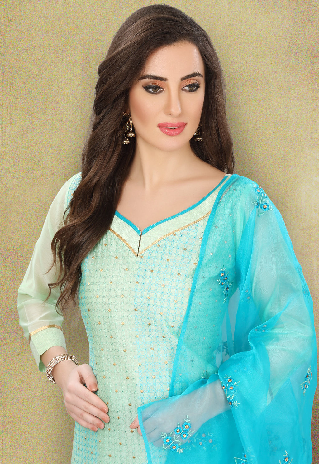 Light Sky Blue Color Chanderi Silk Festive Wear Semi-Stitched Suits NYF-7922