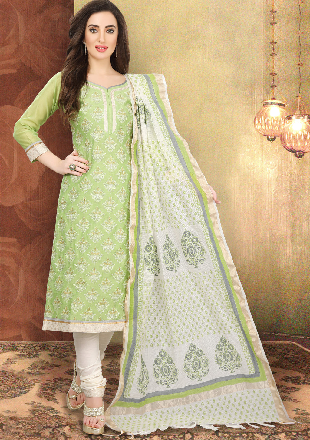 Light Green Color Chanderi Silk Festive Wear Semi-Stitched Suits NYF-7923