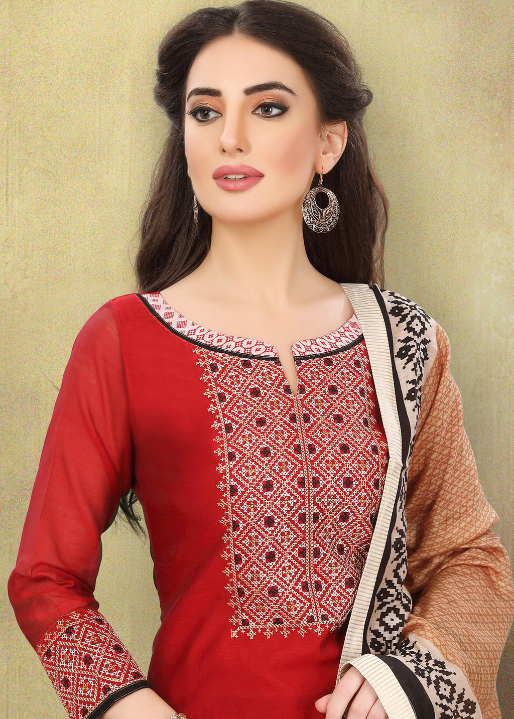 Red Color Chanderi Silk Festive Wear Semi-Stitched Suits NYF-7924