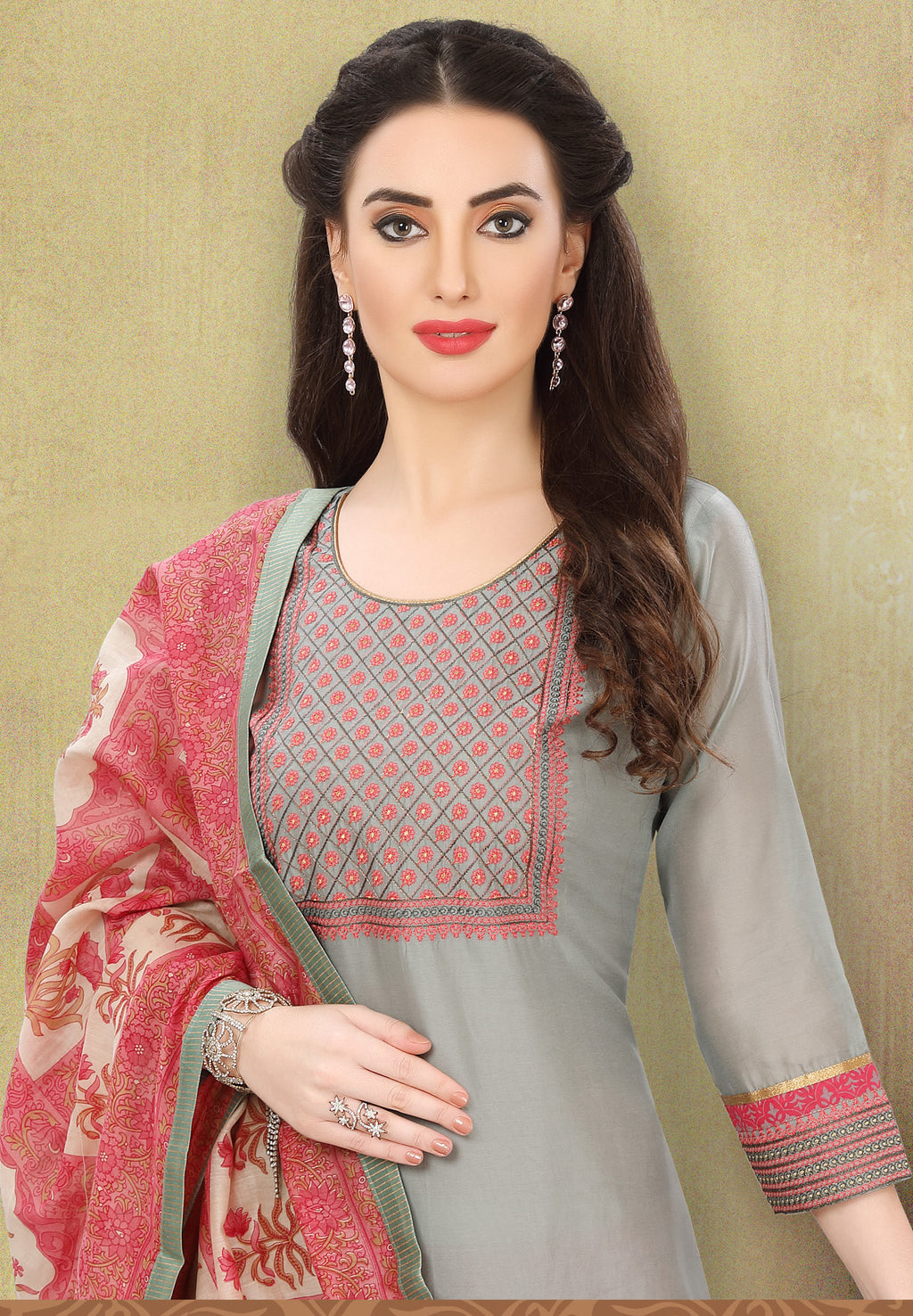 Grey Color Chanderi Silk Festive Wear Semi-Stitched Suits NYF-7925