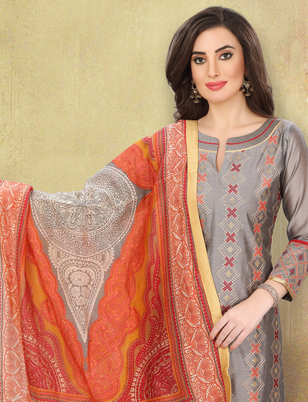 Grey Color Chanderi Silk Festive Wear Semi-Stitched Suits NYF-7926