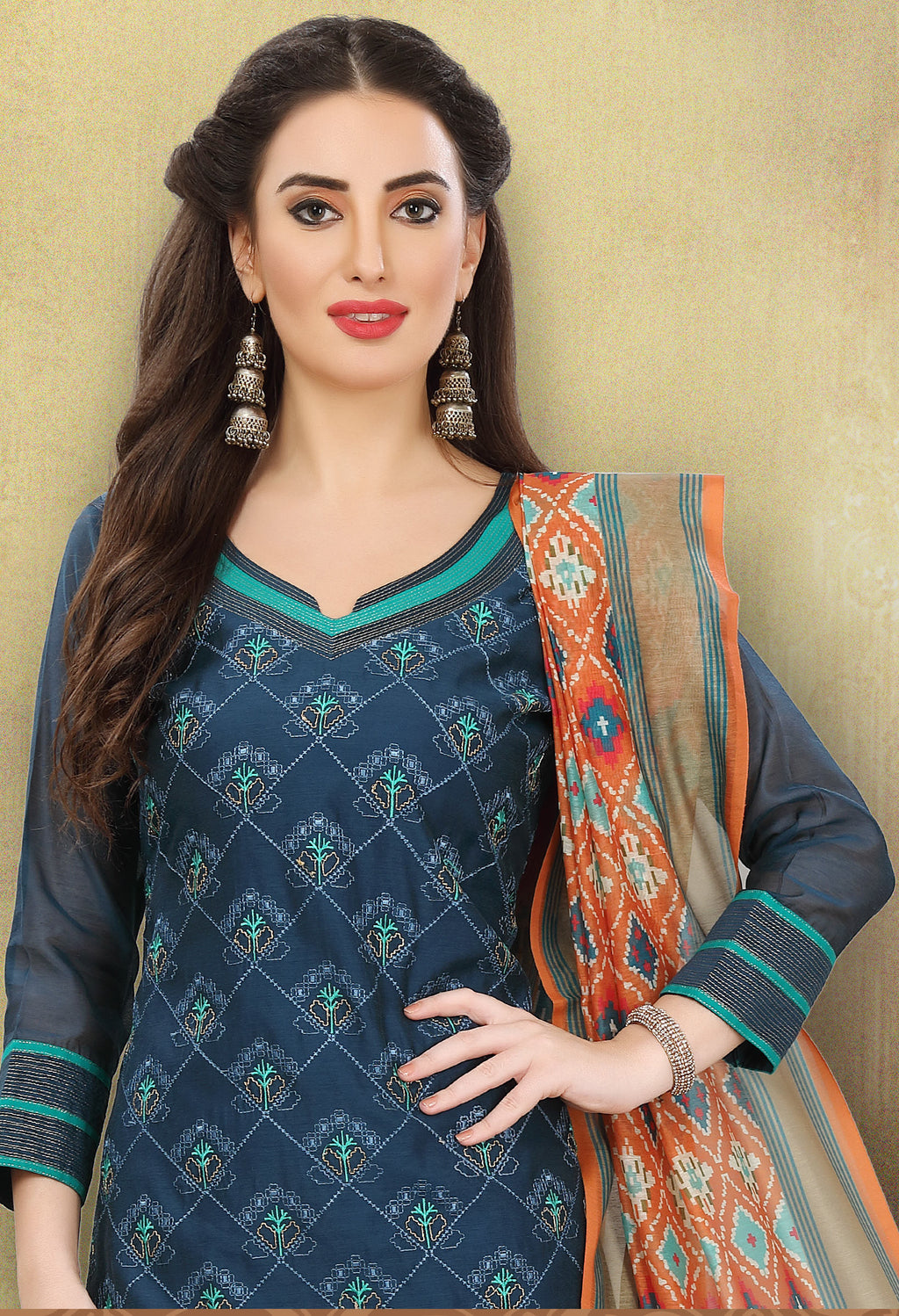 Blue Color Chanderi Silk Festive Wear Semi-Stitched Suits NYF-7927