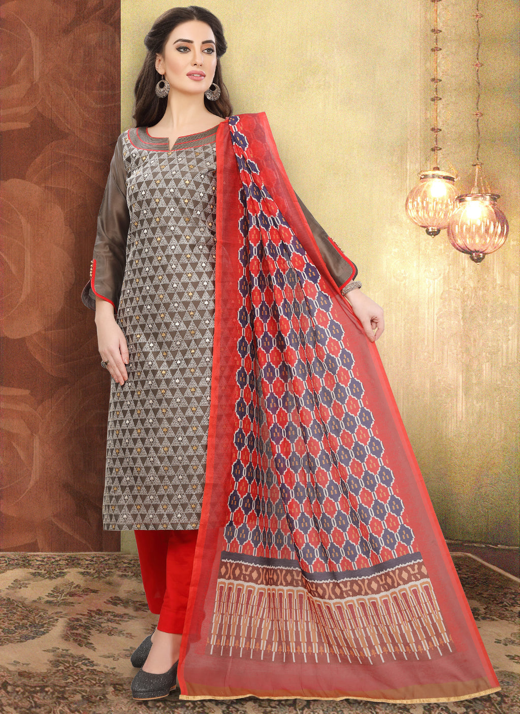 Light Brown Color Chanderi Silk Festive Wear Semi-Stitched Suits NYF-7928