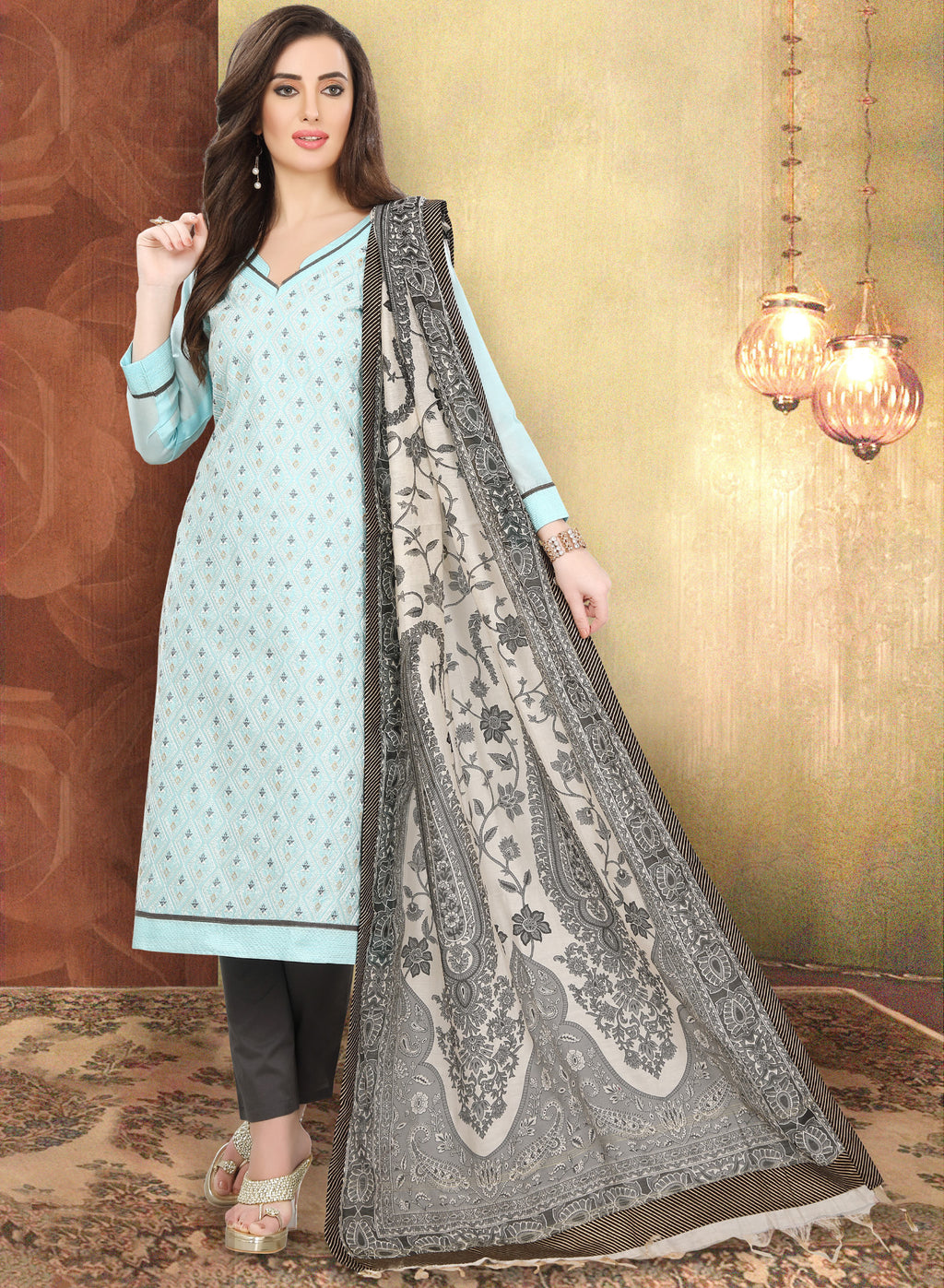 Aqua Blue Color Chanderi Silk Festive Wear Semi-Stitched Suits NYF-7929