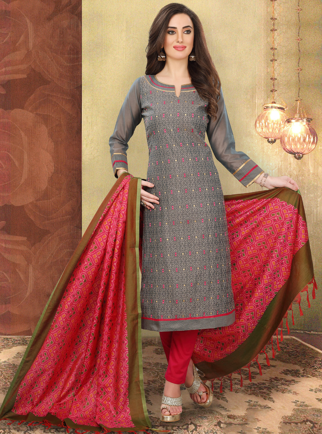 Dark Grey Color Chanderi Silk Festive Wear Semi-Stitched Suits NYF-7930