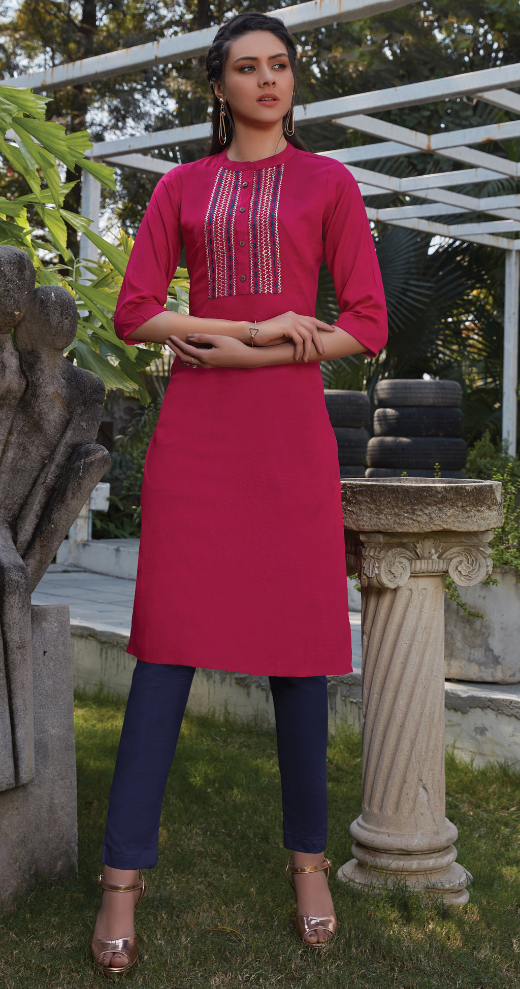 Rani Pink Color Rayon Office Wear Kurtis NYF-8236