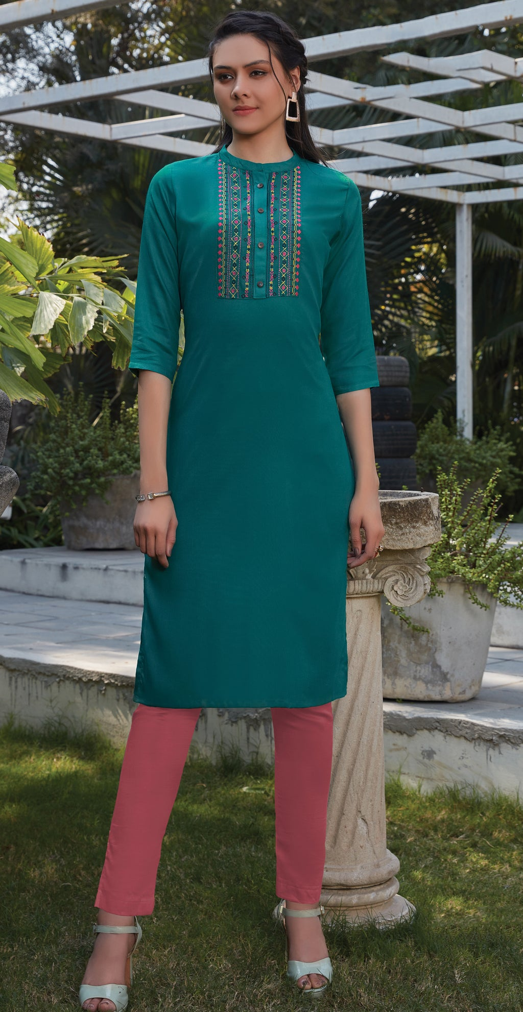 Rama Green Color Rayon Office Wear Kurtis NYF-8240