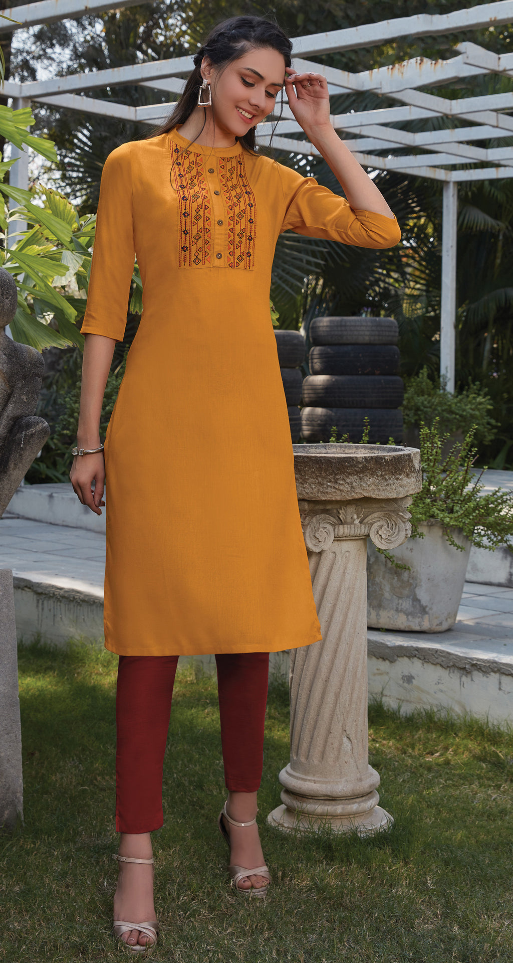 Yellow Color Rayon Office Wear Kurtis NYF-8244