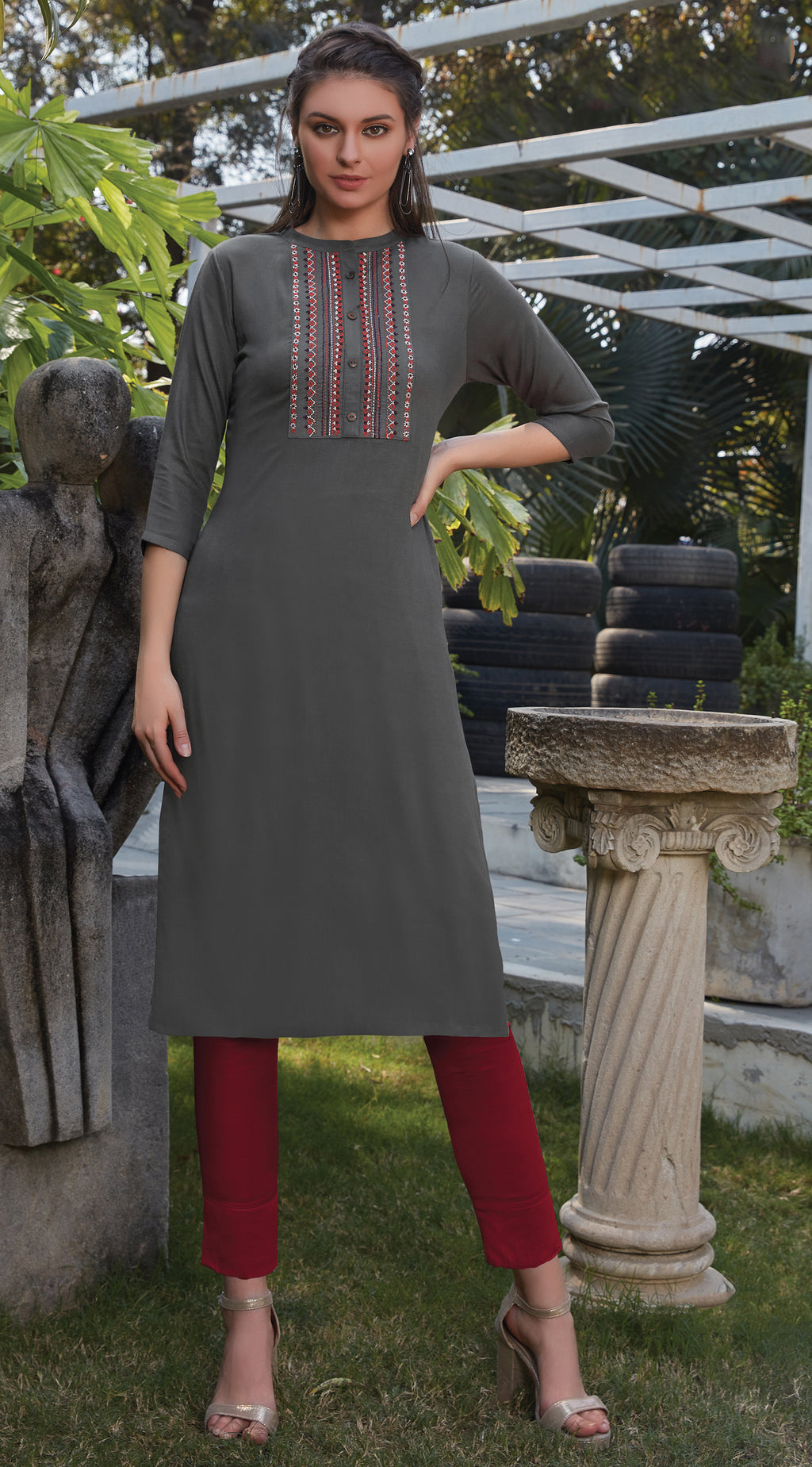 Grey Color Rayon Office Wear Kurtis NYF-8248