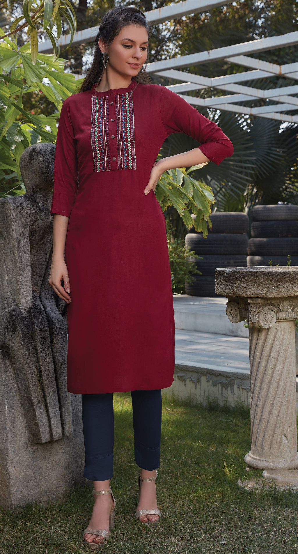 Maroon Color Rayon Office Wear Kurtis NYF-8252
