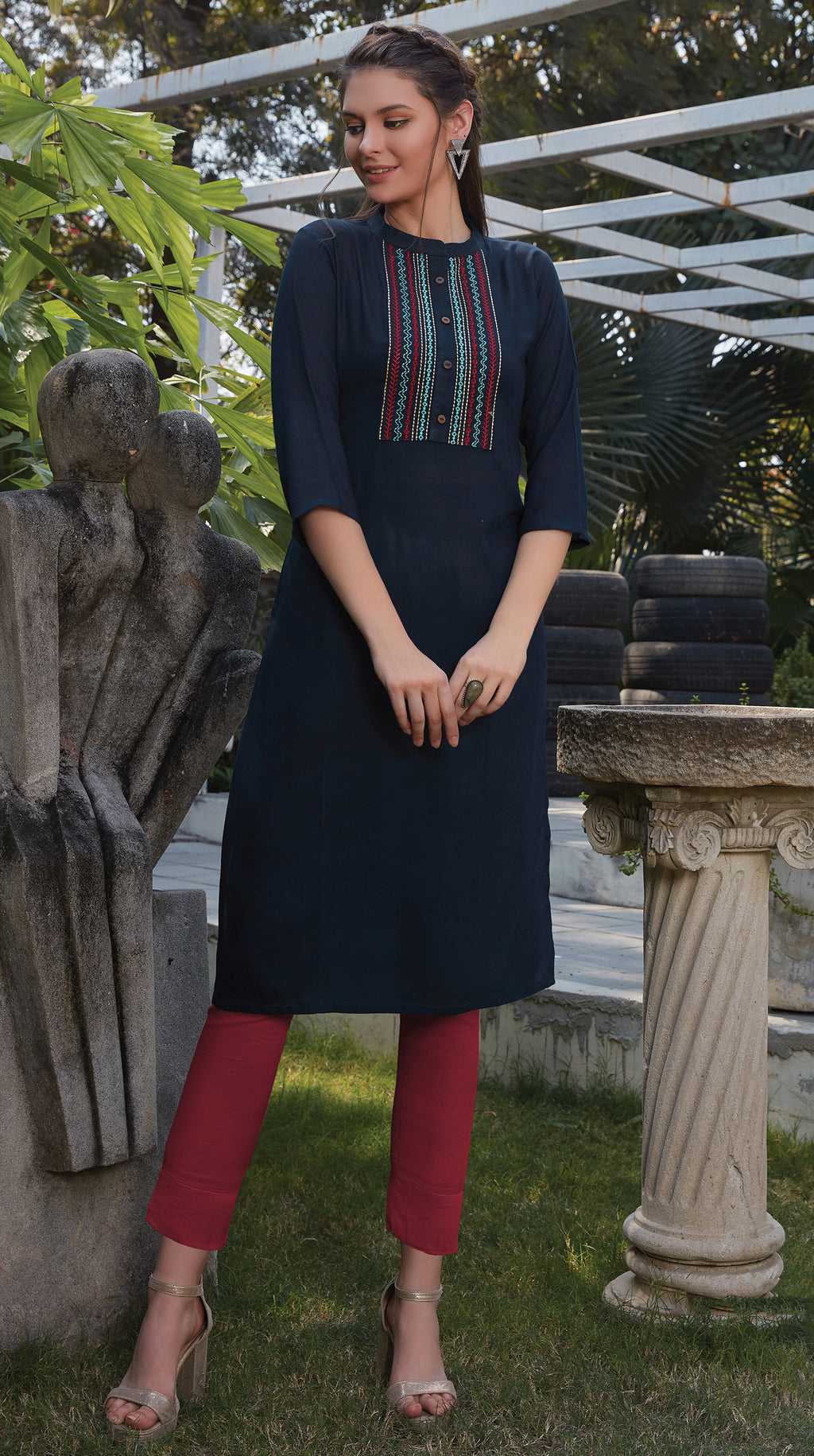 Blue Color Rayon Office Wear Kurtis NYF-8256