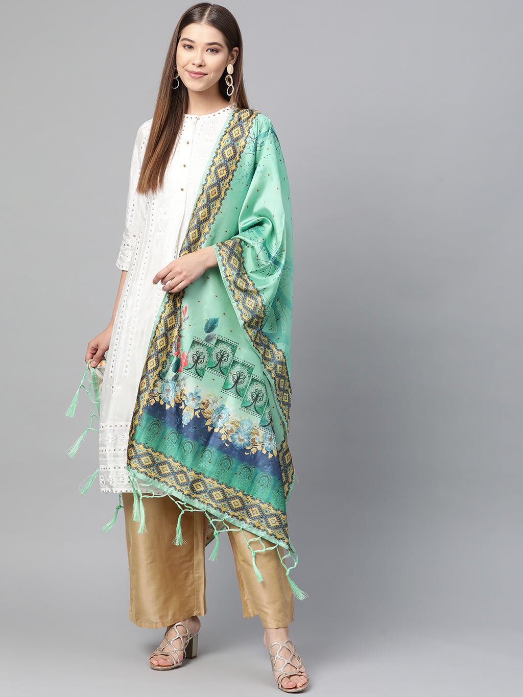 Sea Green Color Jacquard Silk Festive Wear Dupatta NYF-8180