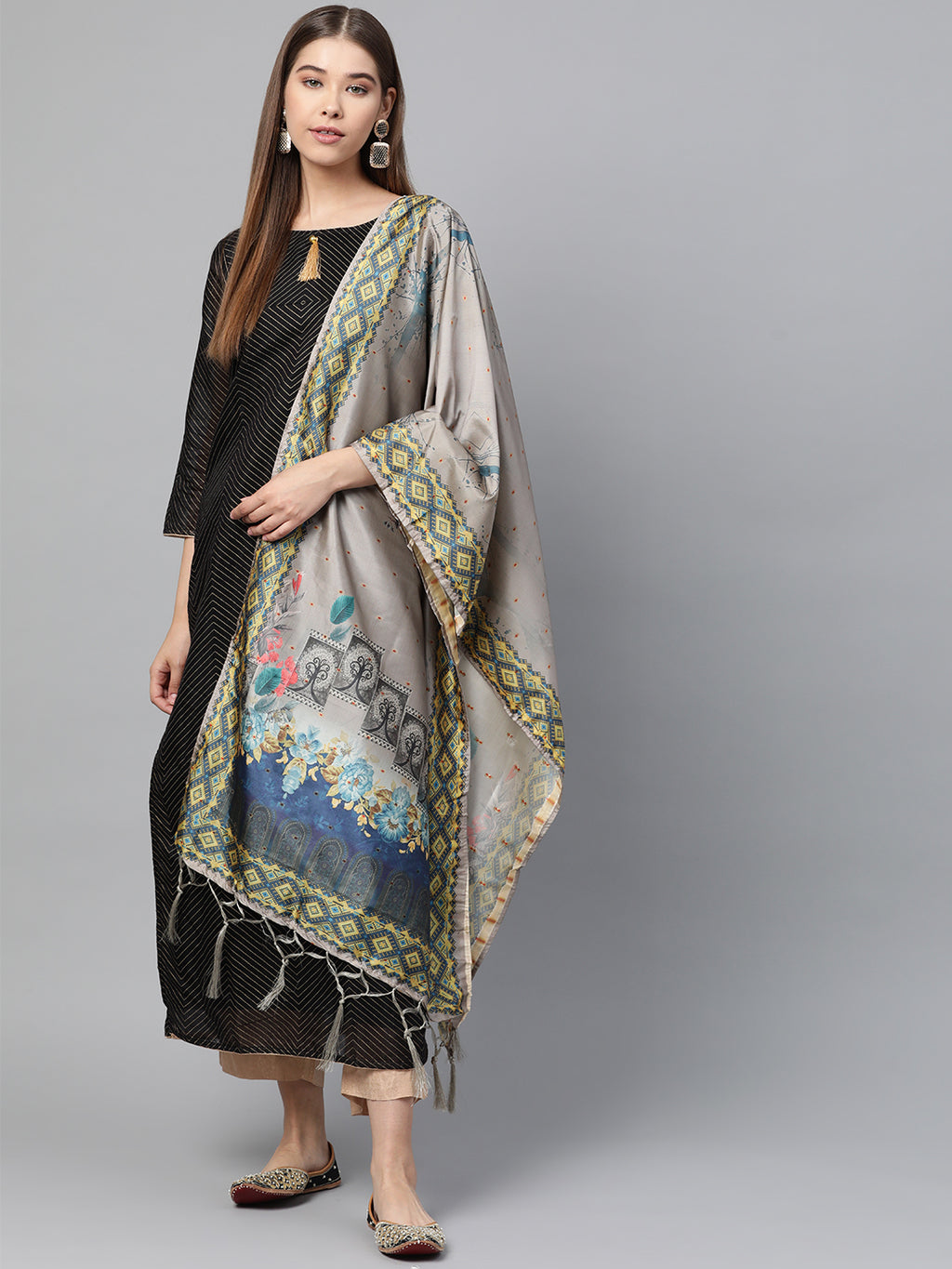 Grey Color Jacquard Silk Festive Wear Dupatta NYF-8182