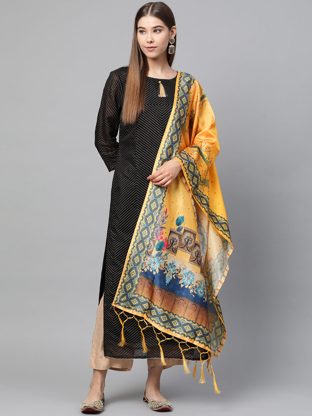 Yellow Color Jacquard Silk Festive Wear Dupatta NYF-8183