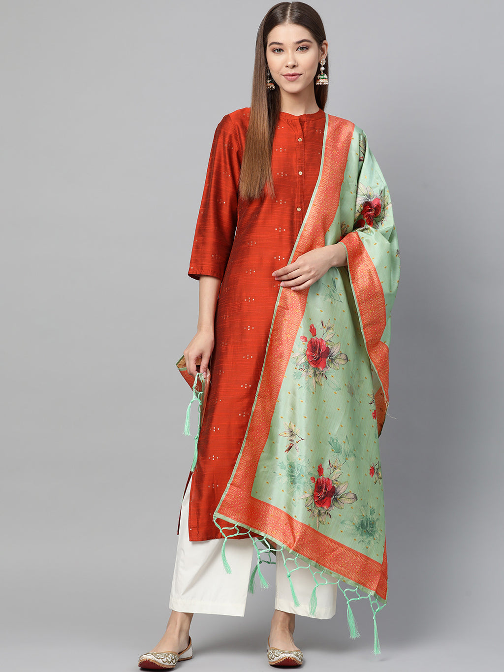 Sea Green Color Jacquard Silk Festive Wear Dupatta NYF-8185