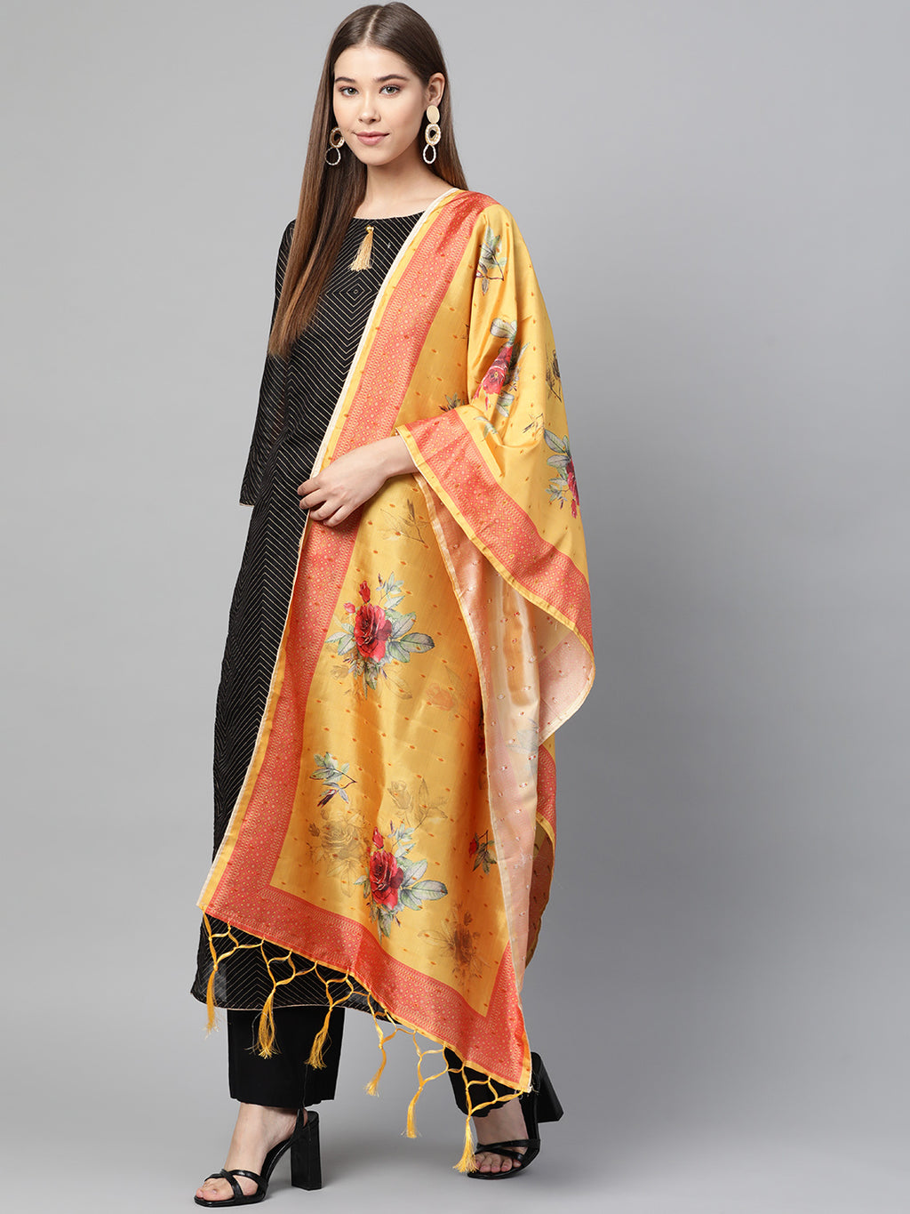Yellow Color Jacquard Silk Festive Wear Dupatta NYF-8188