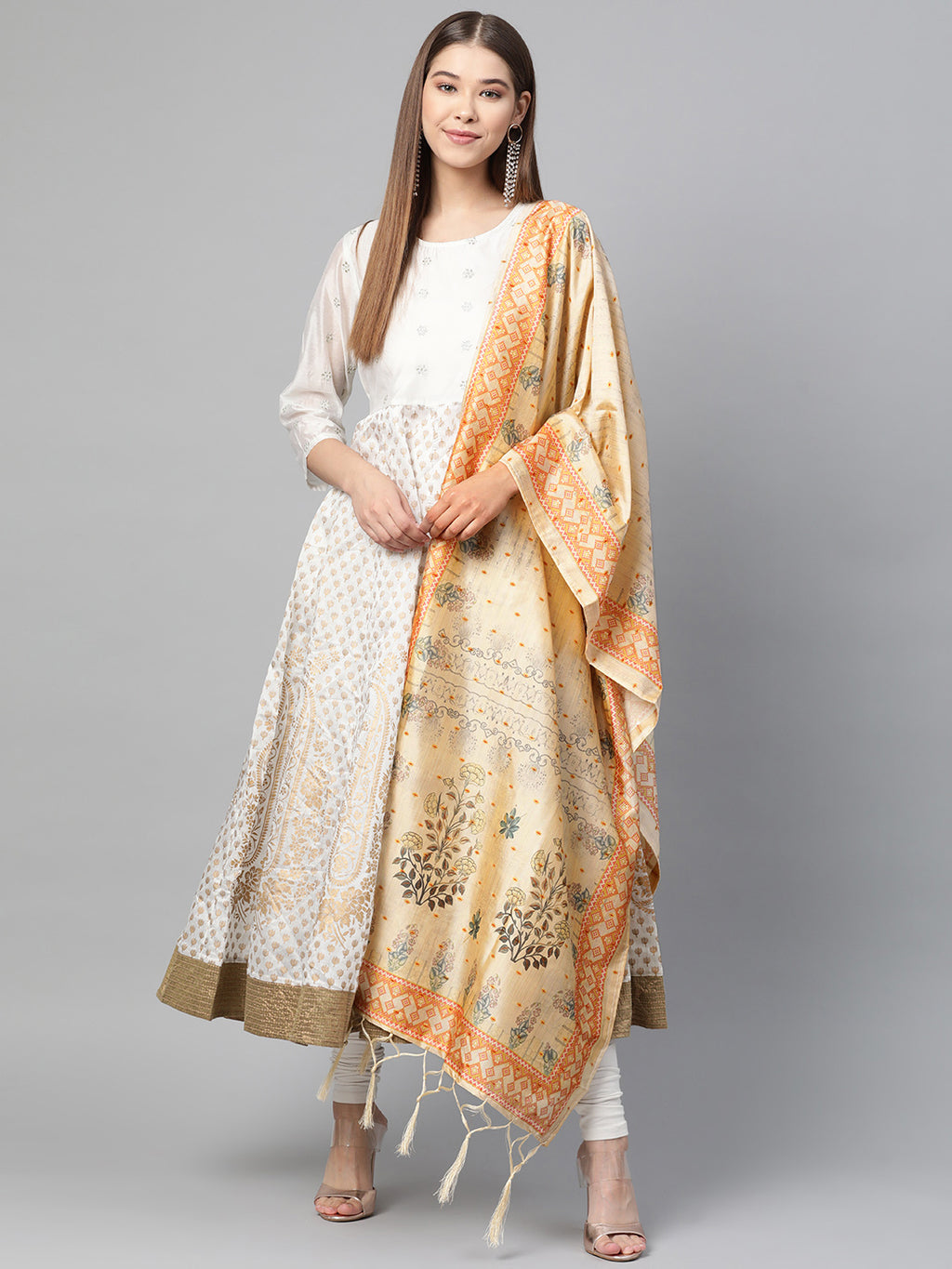 Cream Color Jacquard Silk Festive Wear Dupatta NYF-8191