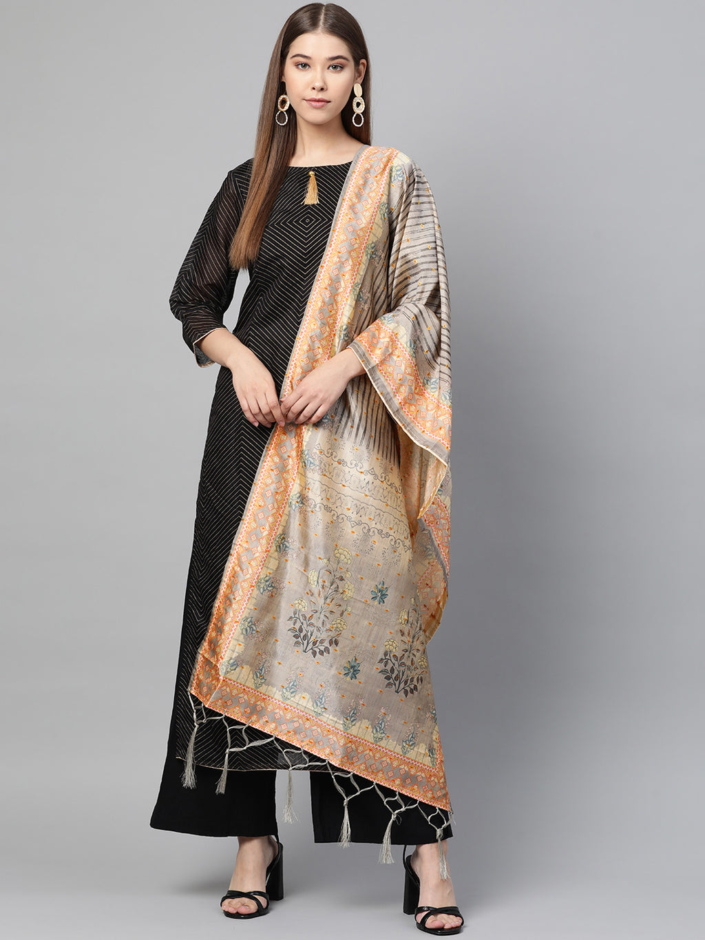 Grey Color Jacquard Silk Festive Wear Dupatta NYF-8192