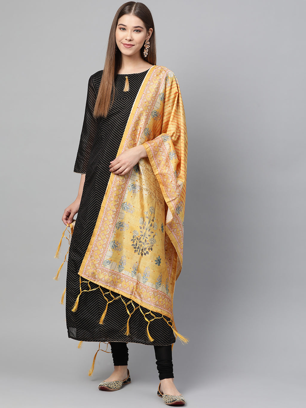 Yellow Color Jacquard Silk Festive Wear Dupatta NYF-8193