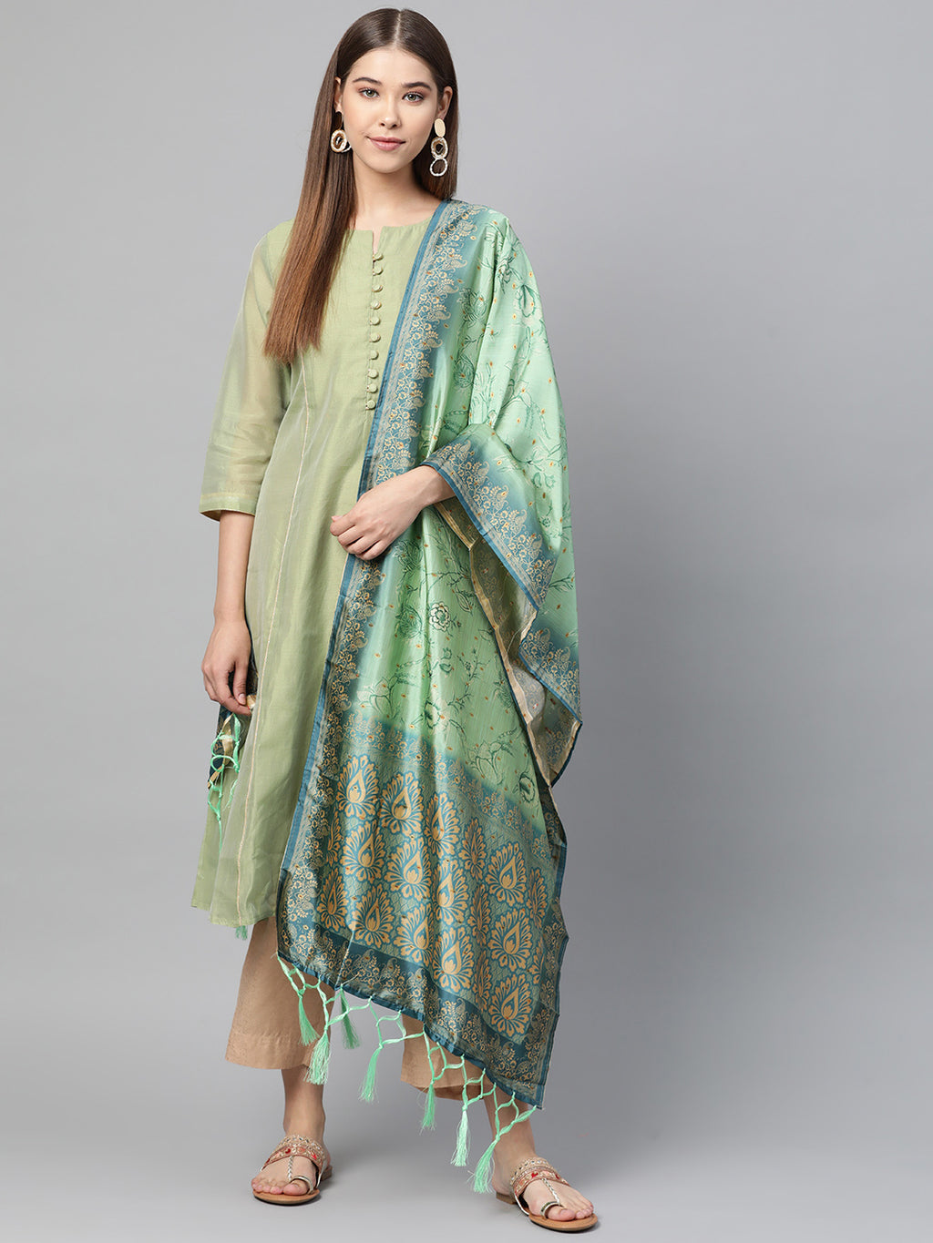 Pastel Green Color Jacquard Silk Festive Wear Dupatta NYF-8195