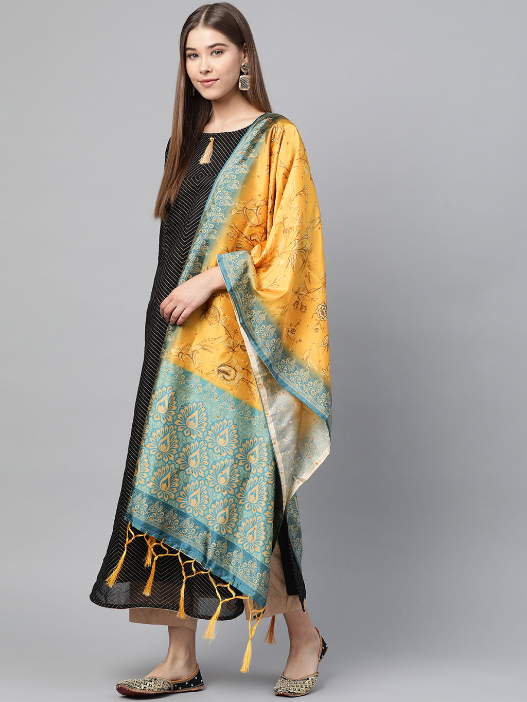 Yellow Color Jacquard Silk Festive Wear Dupatta NYF-8198