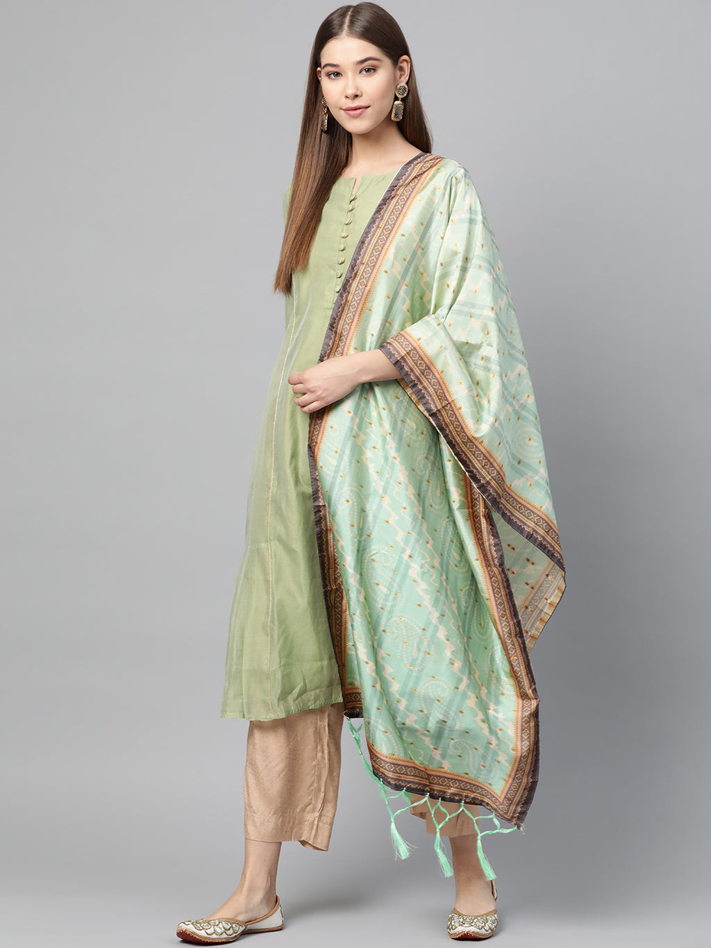 Aqua Green Color Jacquard Silk Festive Wear Dupatta NYF-8200