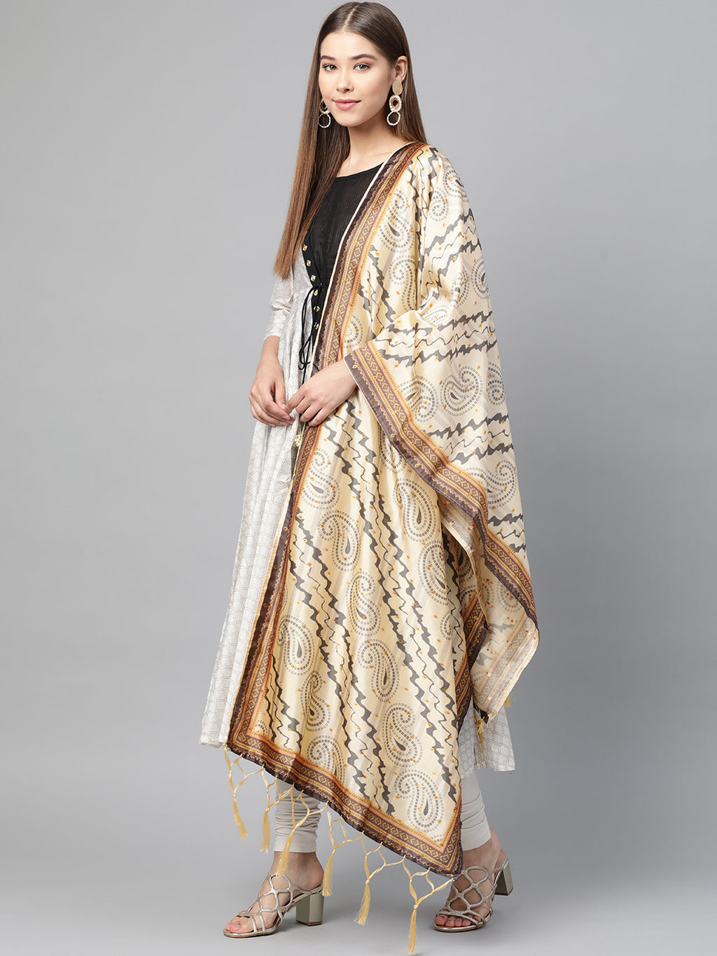 Cream Color Jacquard Silk Festive Wear Dupatta NYF-8201